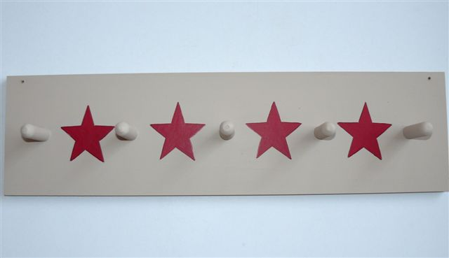 Mocha coatrack with red stars