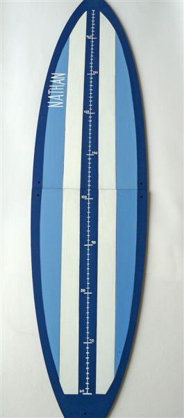 Navy, white and light blue surfboard