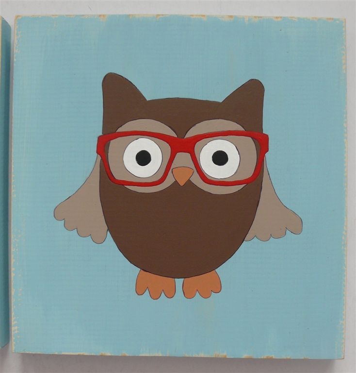 Hipster owl with red glasses
