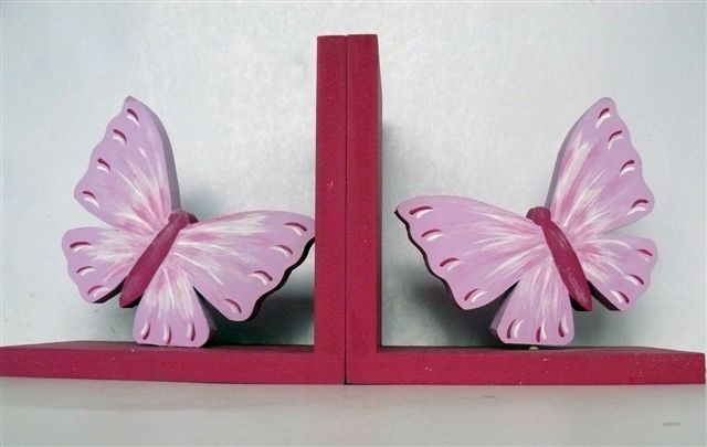Bookends pink butterfly