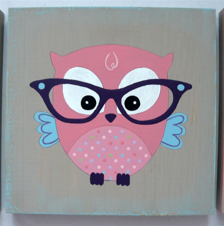Pink owl with purple glasses