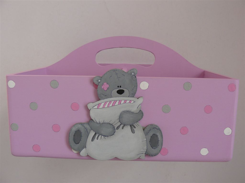 Pink with grey teddie