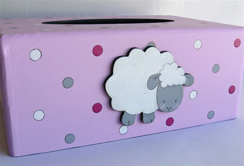 Pink base with polkas white sheep