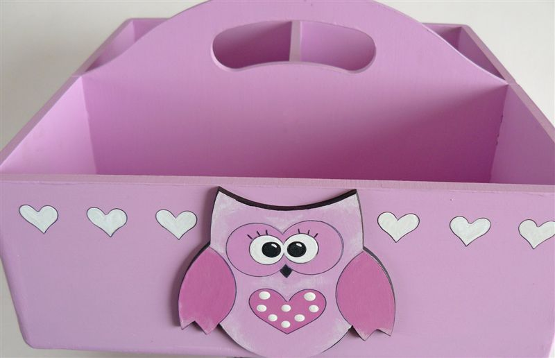 Caddy pink with hearts and owl