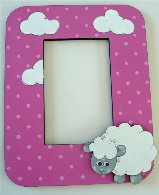 Pink base with white sheep and clouds