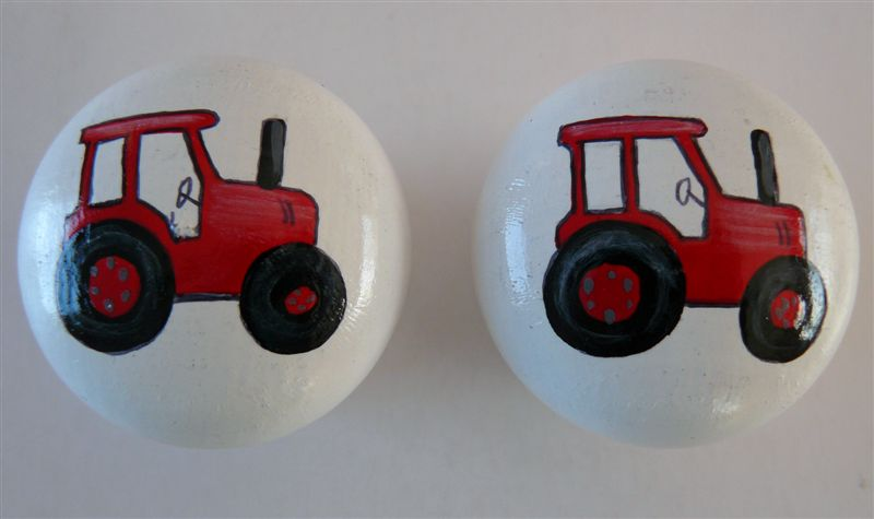 White doorknob with red tractor