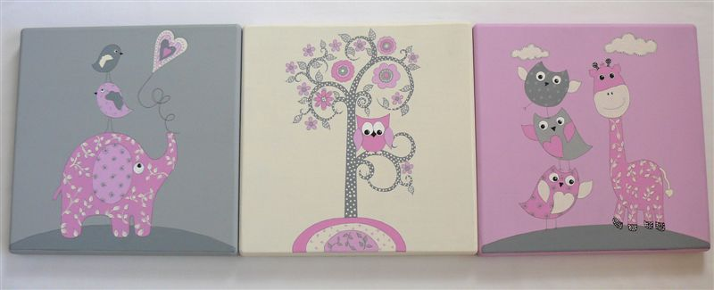 Trio ellie giraffe and owl in pinks