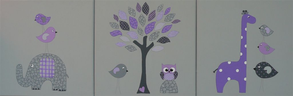 Trio grey base with purple animals
