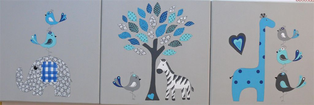 Trio ellie, giraffe and zebra greys and blues