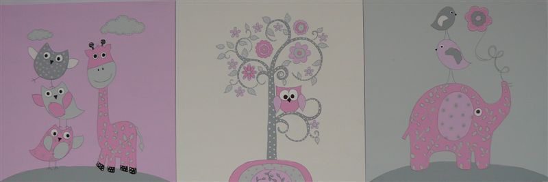 Trio of Pink - Elephant, Giraffe, Owl with Birds
