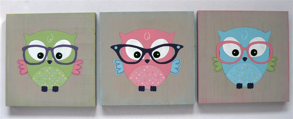 Trio owls with glasses