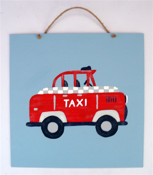 Red Taxi on Blue