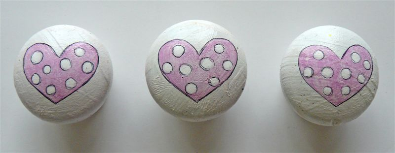 White base with pink hearts and polkas