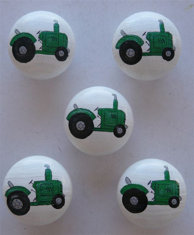 White with green tractor