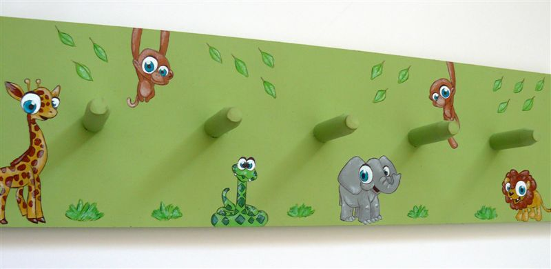 Wild animals green coatrack