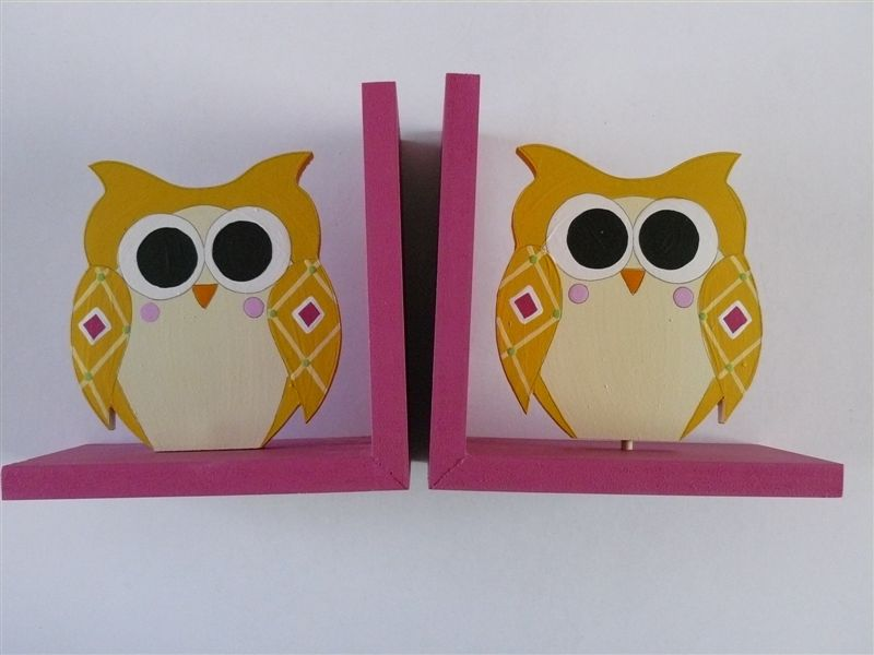 Bookends with yellow owls
