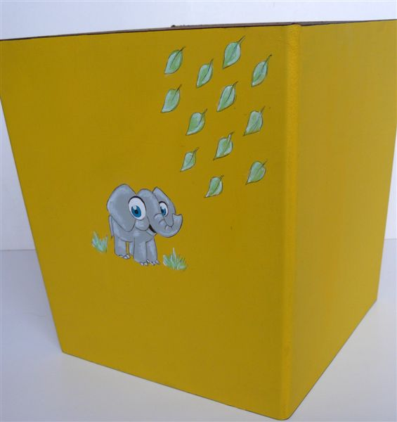 Yellow dustbin with elephant