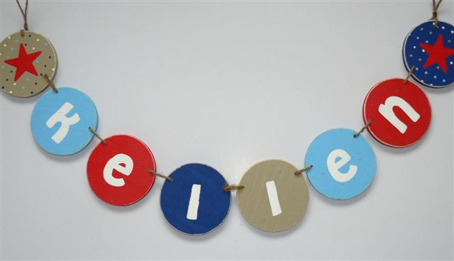 Kellen name bunting from wood